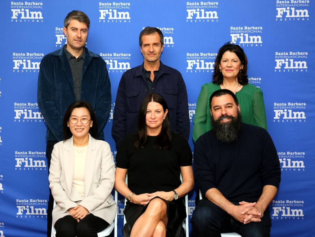 SANTA BARBARA, CALIFORNIA - JANUARY 19: Carthew Neal, David Heyman, Pippa Harris, Kwak Sin-ae, Emma Tillinger Koskoff and Andrew Miano attend onstage at the Producers Panel during the 35th Santa Barbara International Film Festival at the Lobero Theatre on January 19, 2020 in Santa Barbara, California. (Photo by Rebecca Sapp/Getty Images for SBIFF)