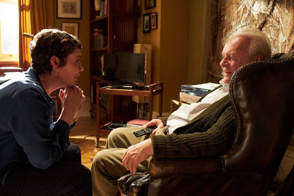 Olivia Colman and Anthony Hopkins appear in The Father by Florian Zeller, an official selection of the Premieres program at the 2020 Sundance Film Festival. Courtesy of Sundance Institute | photo by Sean Gleason.\r\rAll photos are copyrighted and may be used by press only for the purpose of news or editorial coverage of Sundance Institute programs. Photos must be accompanied by a credit to the photographer and/or 'Courtesy of Sundance Institute.' Unauthorized use, alteration, reproduction or sale of logos and/or photos is strictly prohibited.