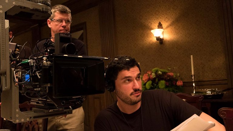 Josh Trank (right) on the set of CAPONE (Courtesy of Vertical Entertainment)