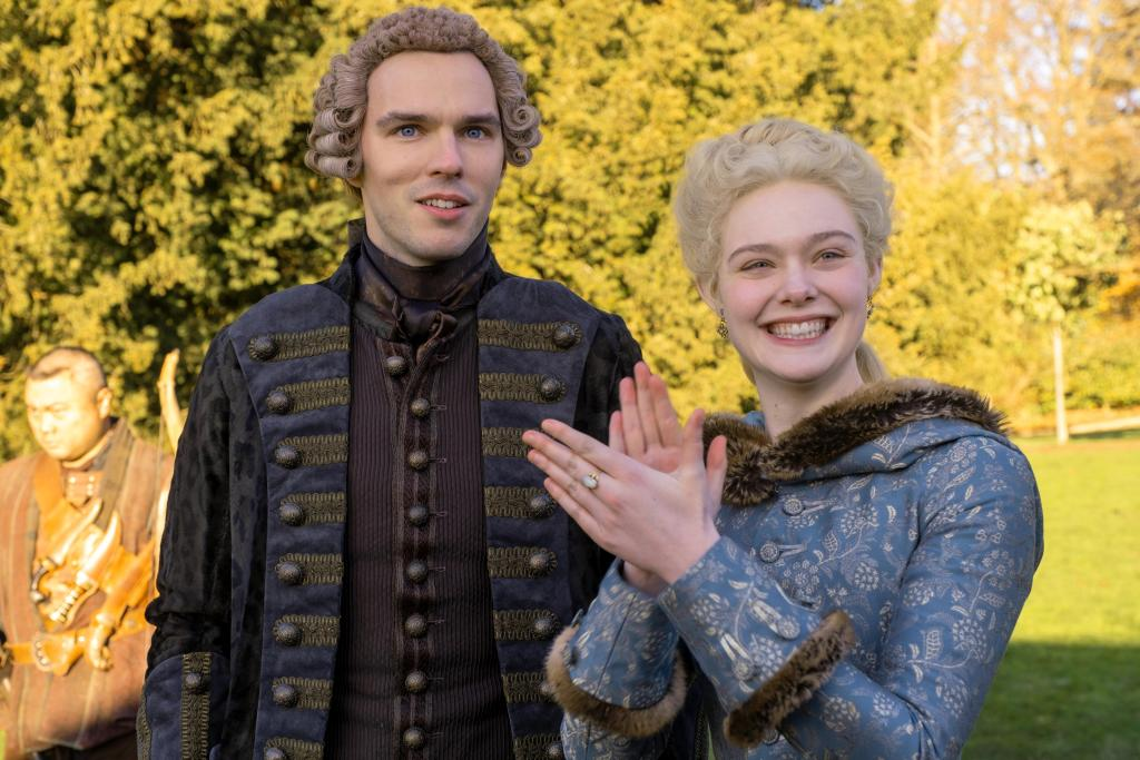 Nicholas Hoult and Elle Fanning in THE GREAT (Courtesy of Hulu)