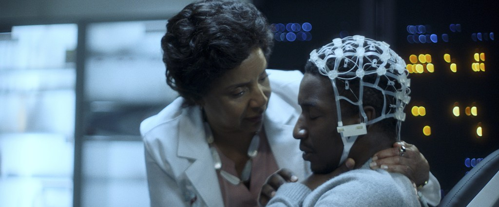 Phylicia Rashad as Dr. Lillian Brooks and Mamoudou Athie as Nolan in BLACK BOX