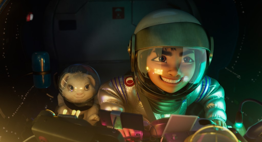 "OVER THE MOON - (L-R) ""Bungee the rabbit"" and ""Fei Fei"" (voiced by Cathy Ang).  © 2020 Netflix, Inc."