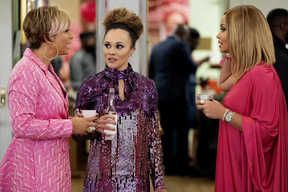 THE REAL HOUSEWIVES OF POTOMAC -- Pictured: (l-r) Robyn Dixon, Ashley Darby, Gizelle Bryant -- (Photo by: Mark Finkenstaedt/Bravo)