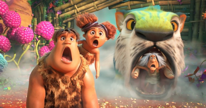 (from left) Thunk Crood (Clark Duke), Sandy Crood (Kailey Crawford) and Gran (Cloris Leachman) in DreamWorks Animation's The Croods: A New Age, directed by Joel Crawford.