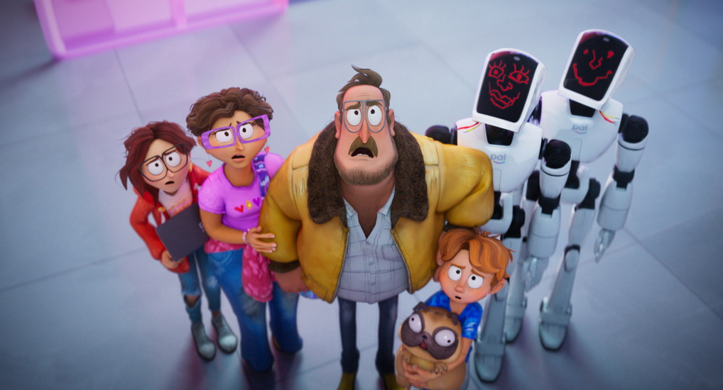 """THE MITCHELLS VS. THE MACHINES - (L-R) Abbi Jacobson as """"Katie Mitchell"""", Maya Rudolph as """"Linda Mitchell"""", Danny McBride as """"Rick Mitchell"""", Doug the Pug as """"Monchi"""", Mike Rianda as """"Aaron Mitchell"""", Fred Armisen as """"Deborahbot 5000"""" and Beck Bennett as """"Eric"""". Cr: ©2021 SPAI. All Rights Reserved."""