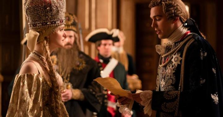 The Great -- Episode 202 - Dickhead -- Catherine, Orlo and Velementov begin their rule of Russia and unexpected obstacles appear for her. Peter is on a journey of self-improvement under house arrest but convinces Catherine to let him attend her coronation and hand over his crown. Catherine (Elle Fanning) and Peter (Nicholas Hoult), shown. (Photo by: Gareth Gatrell/Hulu)