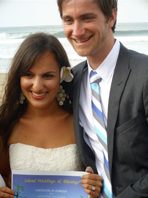 My wife and I on our wedding day on the beach at Hanalei Bay in Kauai. Best day of my life!
