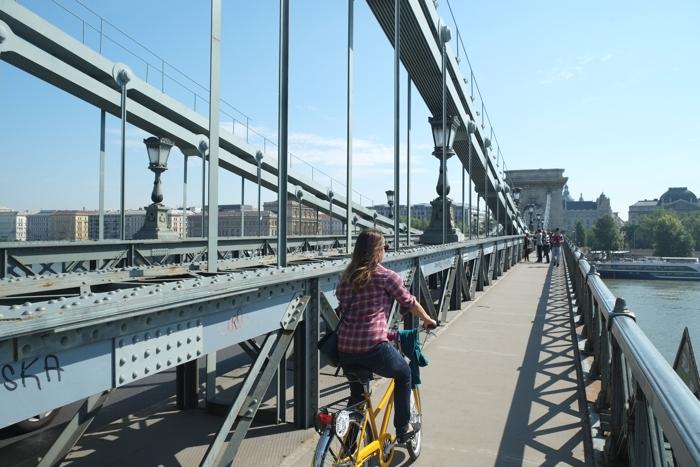 Biking in Budapest.