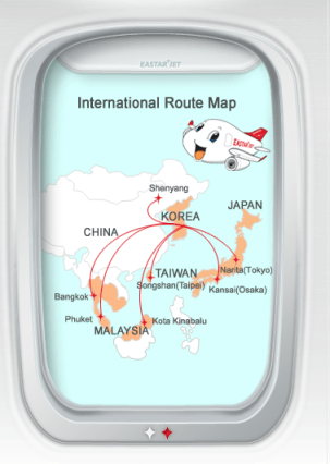 Eastar Jet International Routes as of June 2014