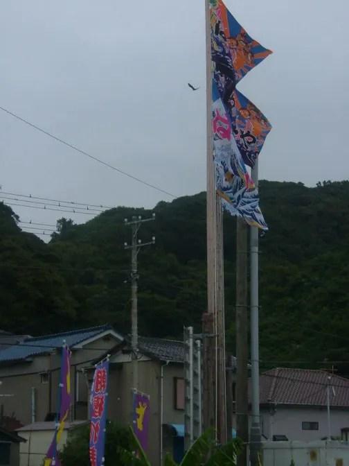 大漁旗がお出迎え