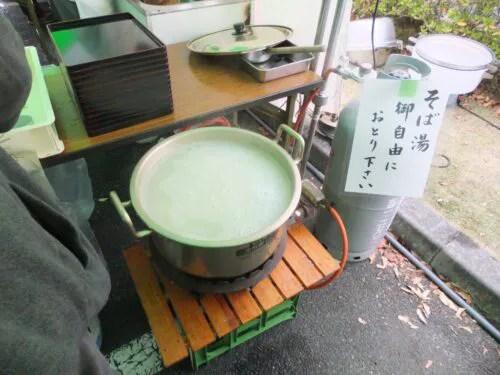鍋一杯のそば湯