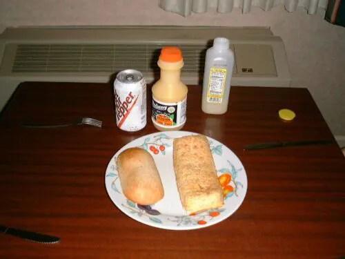 ピロシキ、オレンジジュース他