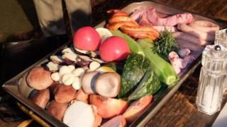 トレイに盛られた9人分食材