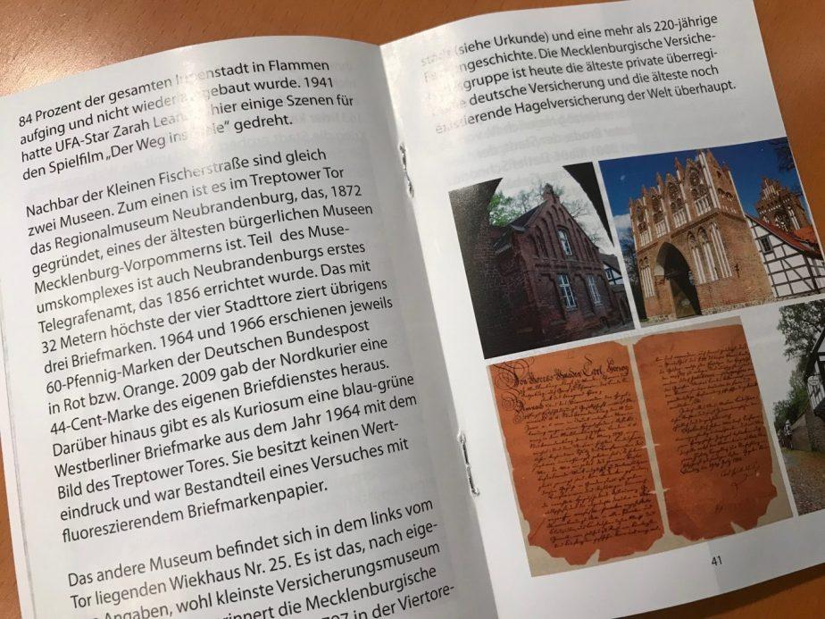 Stadtführer Neubrandenburg Broschürengestaltung Satz und Layout Wießmann