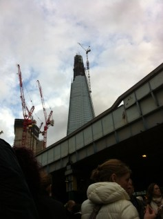 From the market, we could see the Shard (which was still under construction)