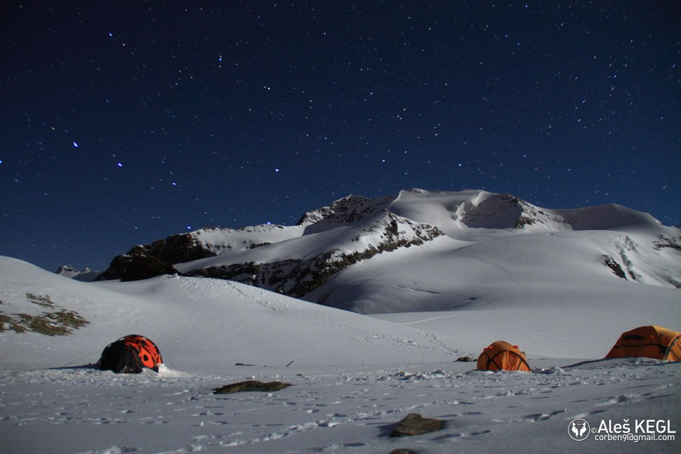 The camp in the middle of  a clear night