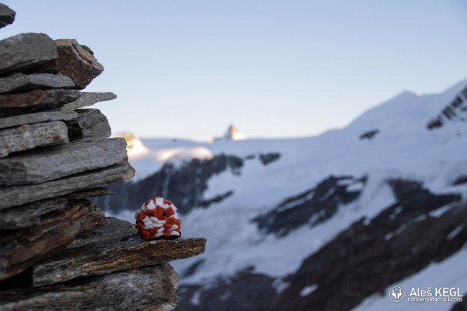 Fluffy also made it to see the Cervino/Matterhorn in the morning light