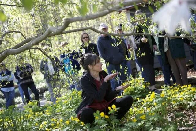 Margaret Roach teaching a workshop in the garden