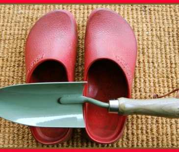 Margaret's garden clogs and trowel