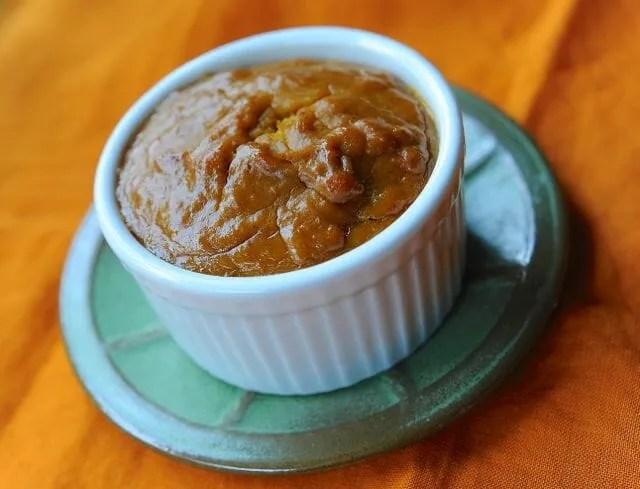 Individual crustless pumpkin pie, as pumpkin custard