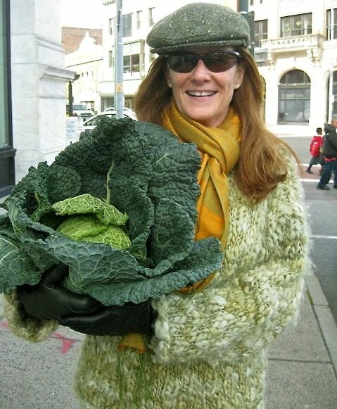 Marion Roach Smith with a cabbage from farm market
