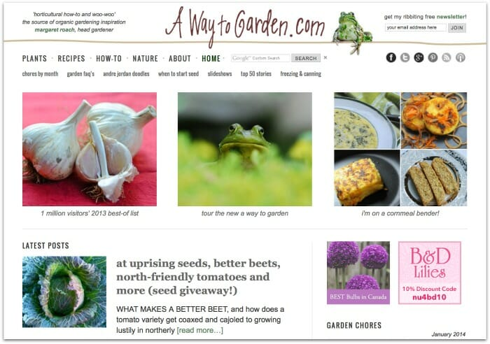 New A Way to Garden homepage, January 2014
