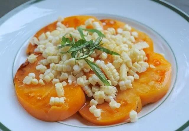 Ywllow Brandywine-type tomato and fresh corn