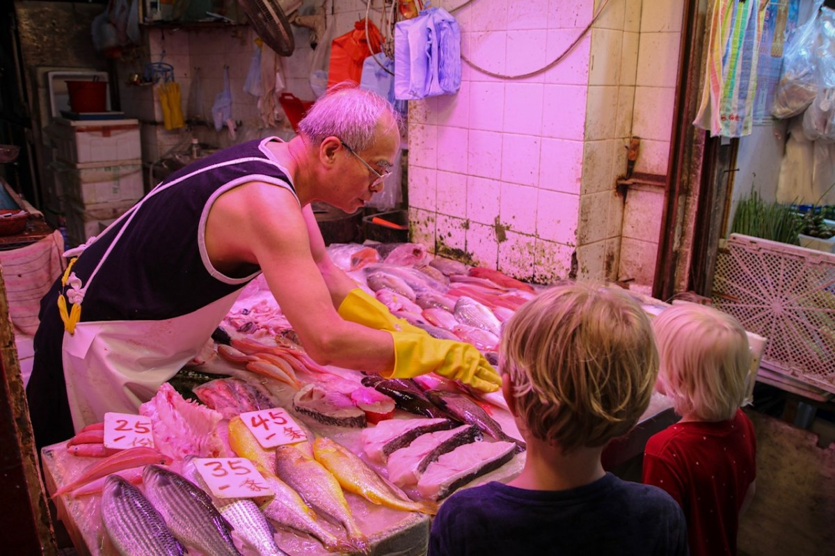 Visiting the wet markets of Hong Kong with kids.