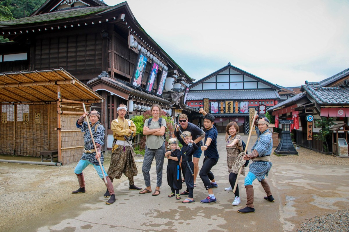 Dressing up in Nikko with kids.