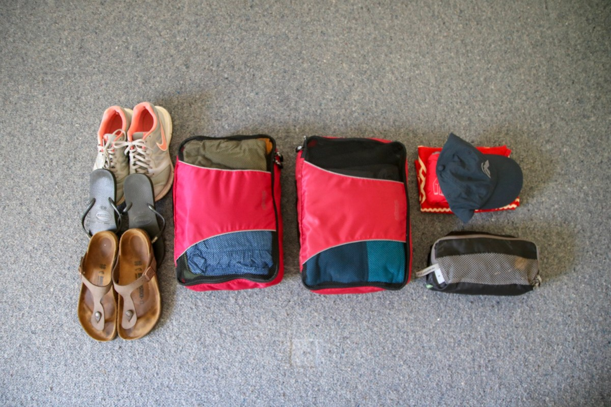 Photo of packing cubes as part of packing list for longterm travel