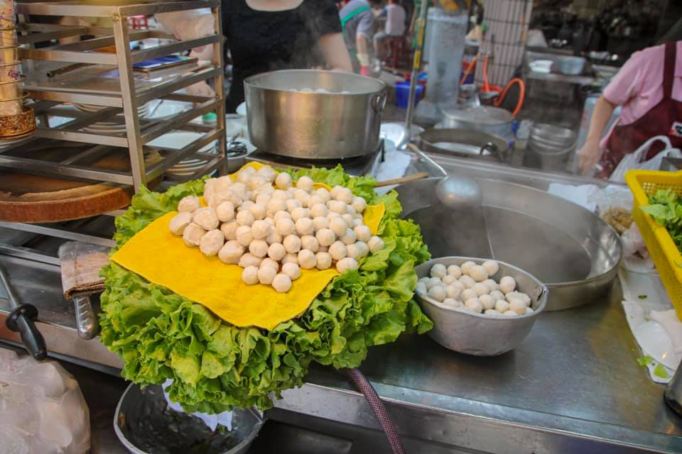 Fishball soup at a Taiwanese street food market in Taipei.