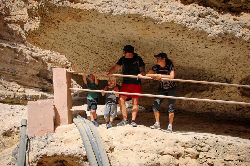 Walking to Wadi Shab with kids.