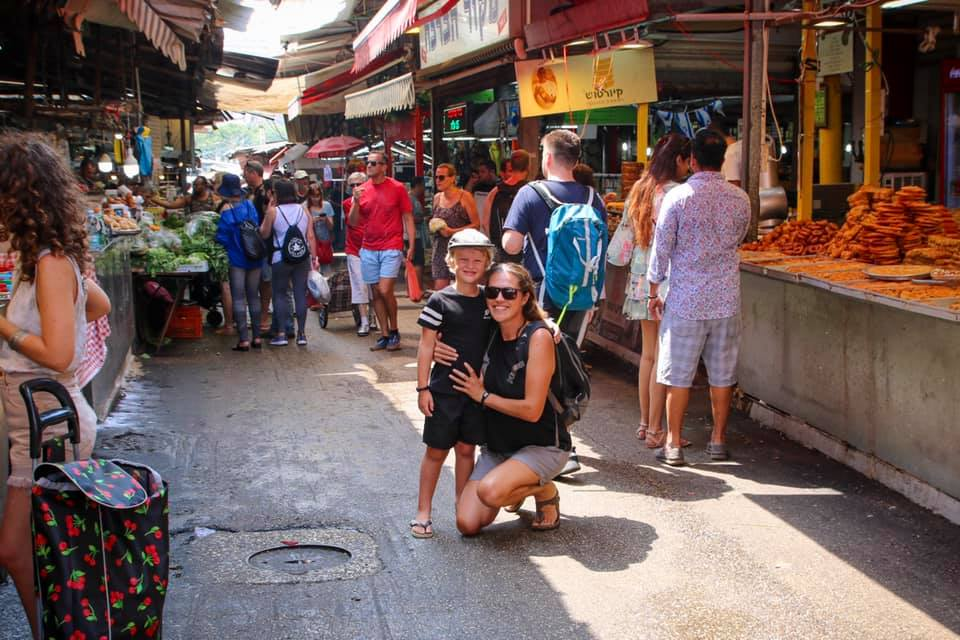 Family travel to Israel. Markets in Tel Aviv.