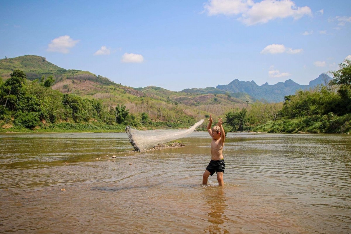 River netting during our Laos homestay.
