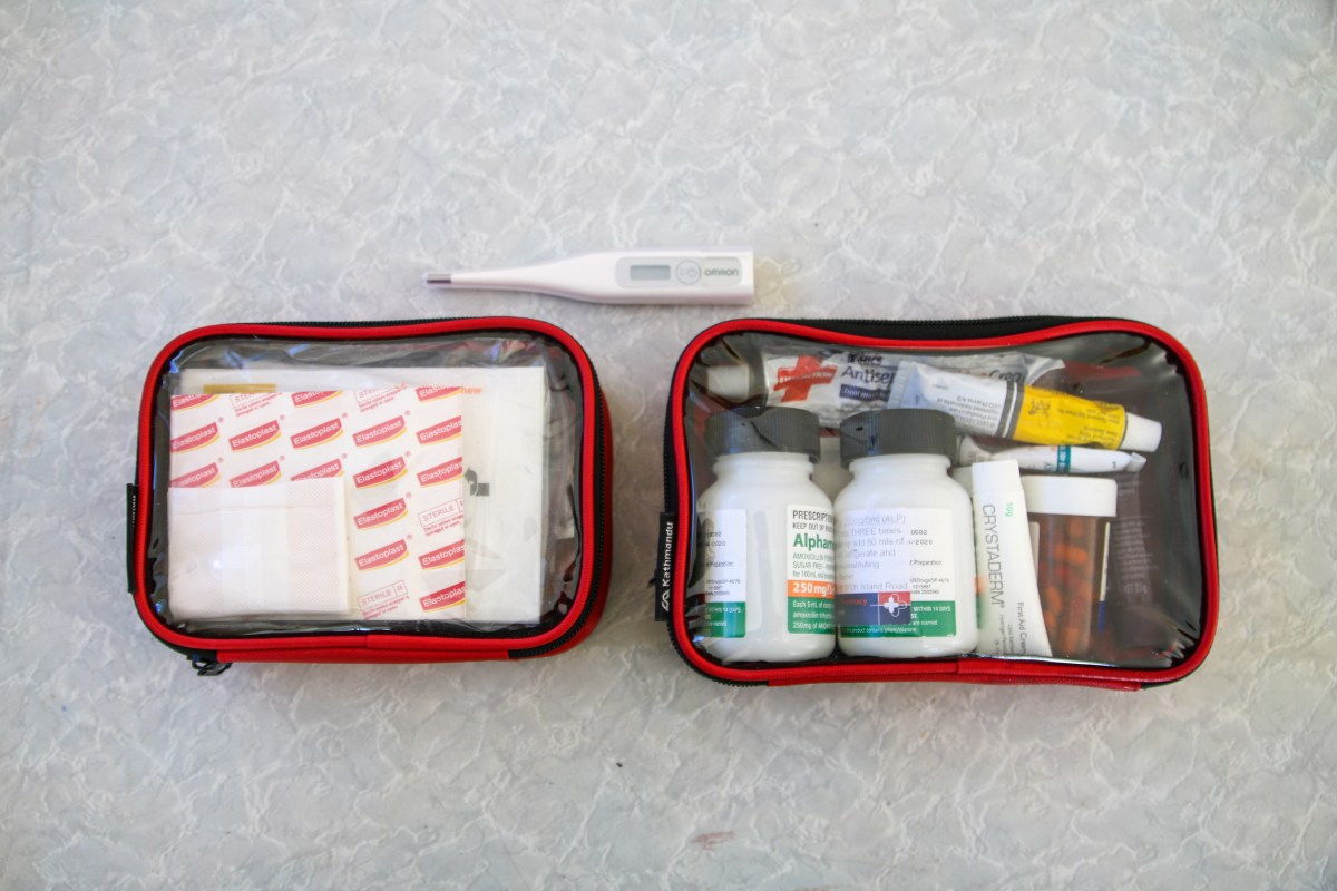 Medical kit displayed - packing for longterm travel.