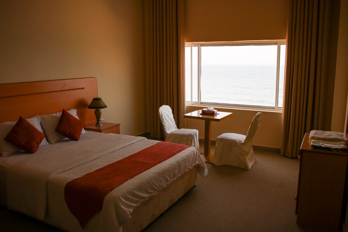 Hotel room at Leading Wings Beach apartments, Oman.