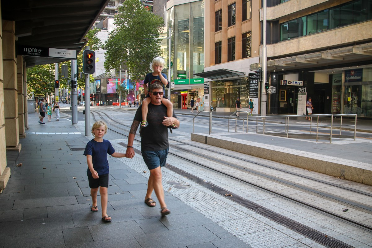 Walking down George Street in Sydney with the kids.