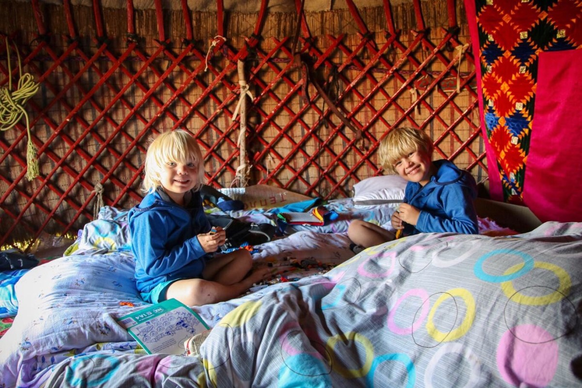 Downtime in our yurt at Song Kol Lake.