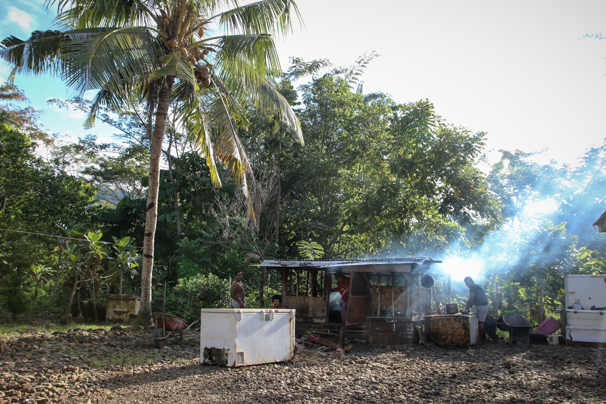 Kitchen fires cooking outside in Samoa.