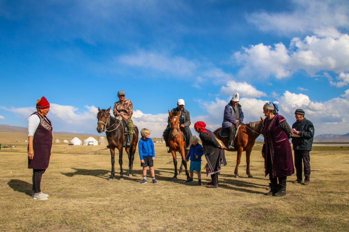 Nomadic family at Song Kol Lake Kyrgyzstan with kids