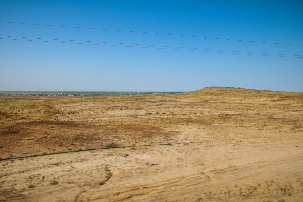 Desert scenery out the window on our train to Nukus.