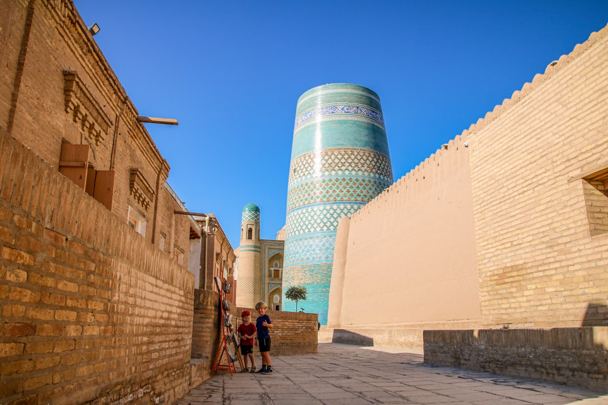 The famous unfinished minaret in Khiva.