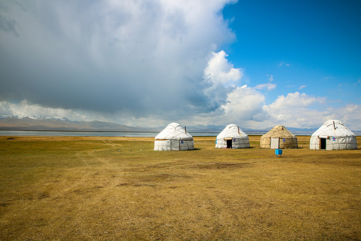 Yurts line the Song Kol shore in summer.