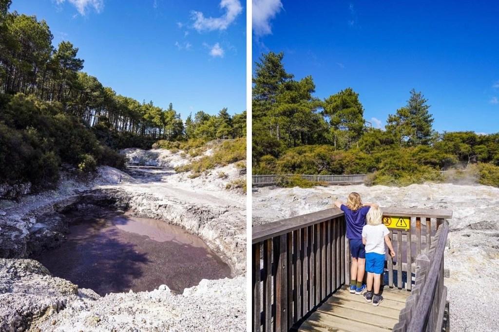 Boiling mud pools at Waiotapu, Rotorua New Zealand.