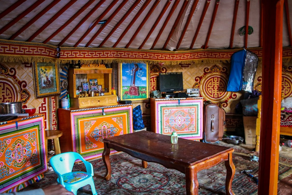 Inside a nomadic family get in Mongolia.
