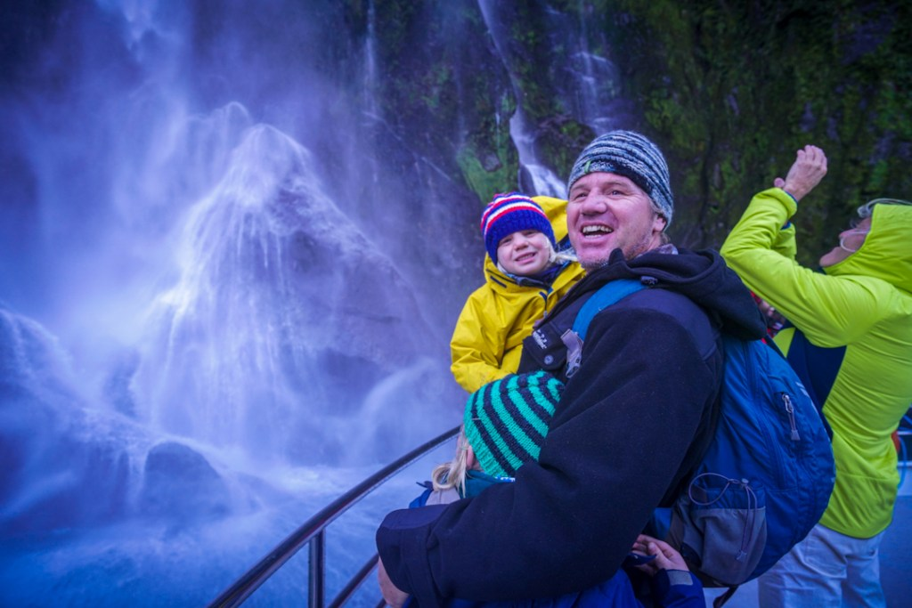 Visiting Milford Sound with kids. Getting right up close to the famous Stirling Falls.