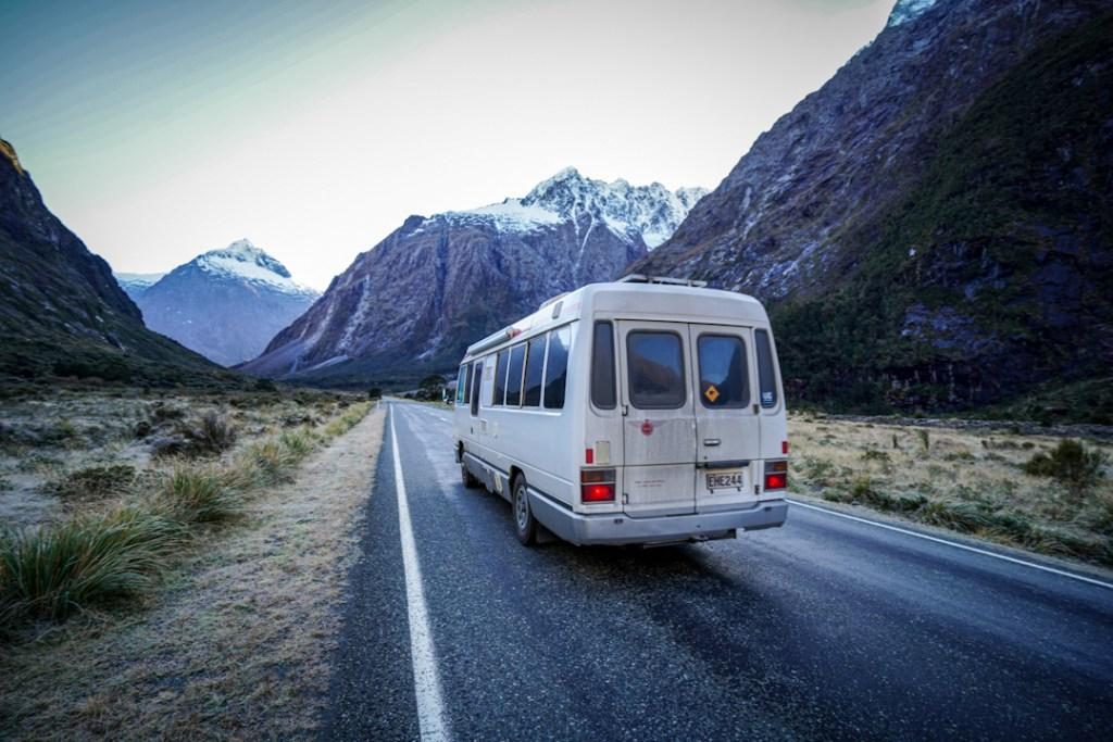 Visiting Milford Sound by campervan in winter.