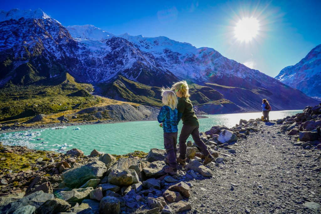 Looking over Hooker Lake; Hooker Valley Track with kids.