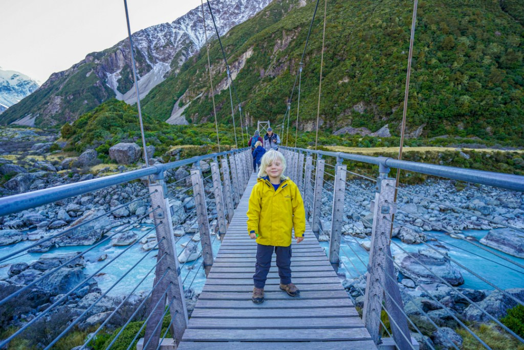 Walking the Hooker Valley Track with kids.