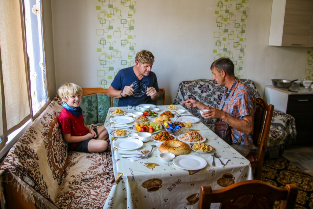 Touring Kyrgyzstan with kids, what will they eat? This is a typical lunch table set up in Kyrgyzstan.